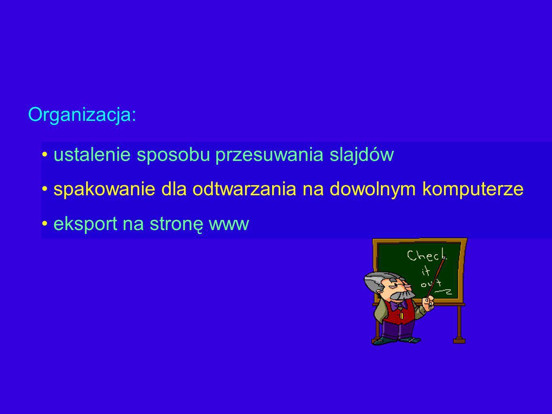 ustalenie sposobu przesuwania slajdów spakowanie dla odtwarzania na dowolnym komputerze eksport na stronę www Organizacja: