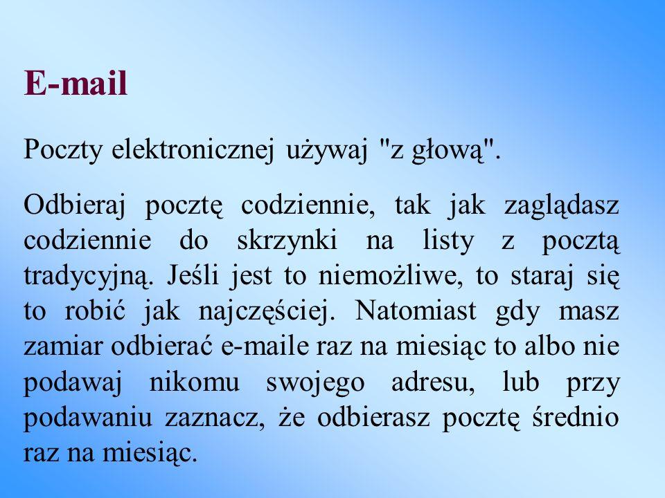 E-mail Poczty elektronicznej używaj