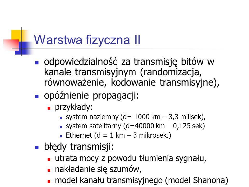 Warstwa fizyczna II odpowiedzialność za transmisję bitów w kanale transmisyjnym (randomizacja, równoważenie, kodowanie transmisyjne), opóźnienie propagacji: przykłady: system naziemny (d= 1000 km – 3,3 milisek), system satelitarny (d=40000 km – 0,125 sek) Ethernet (d = 1 km – 3 mikrosek.) błędy transmisji: utrata mocy z powodu tłumienia sygnału, nakładanie się szumów, model kanału transmisyjnego (model Shanona)