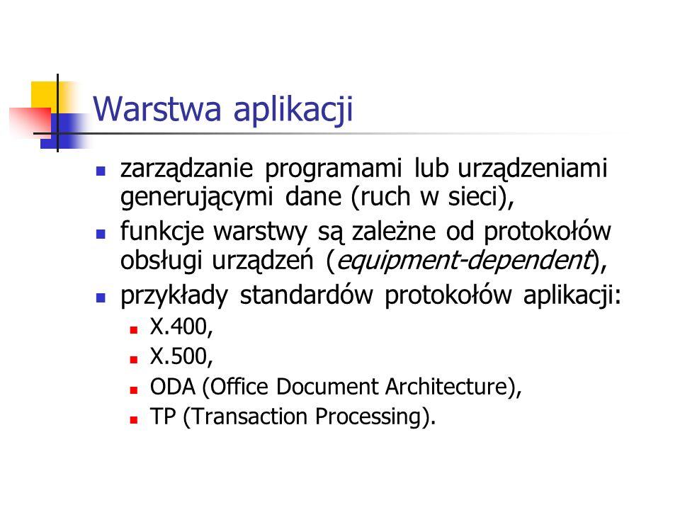 Warstwa aplikacji zarządzanie programami lub urządzeniami generującymi dane (ruch w sieci), funkcje warstwy są zależne od protokołów obsługi urządzeń (equipment-dependent), przykłady standardów protokołów aplikacji: X.400, X.500, ODA (Office Document Architecture), TP (Transaction Processing).