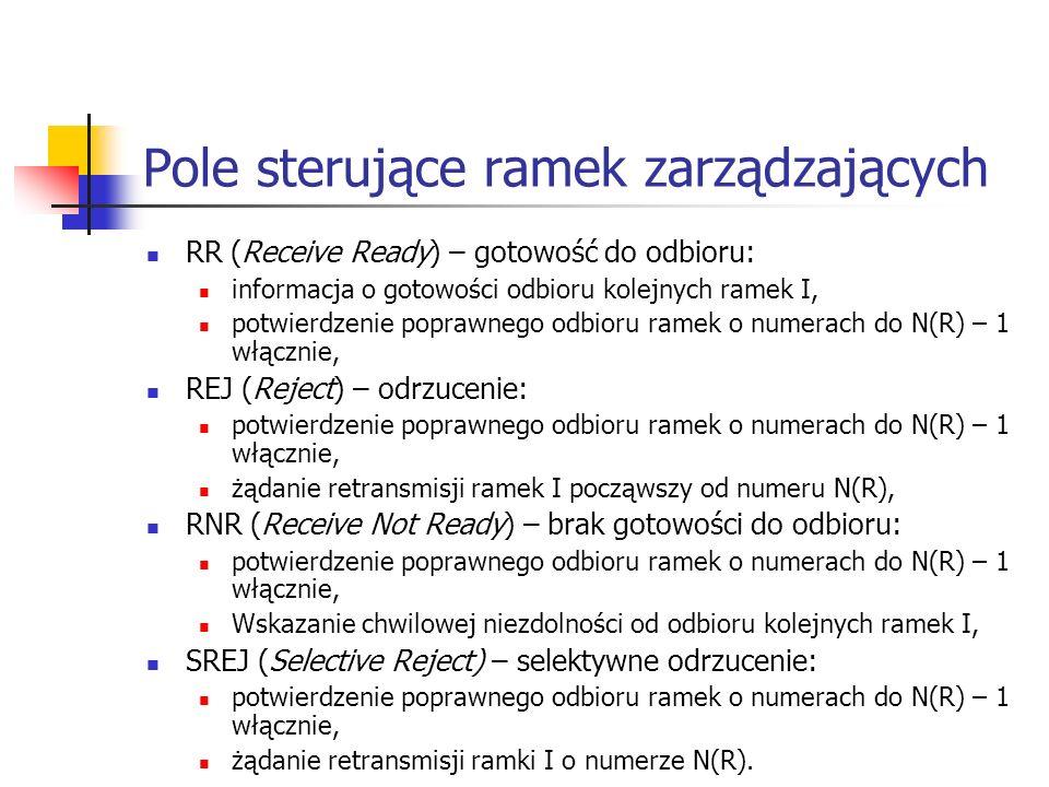 Pole sterujące ramek zarządzających RR (Receive Ready) – gotowość do odbioru: informacja o gotowości odbioru kolejnych ramek I, potwierdzenie poprawne