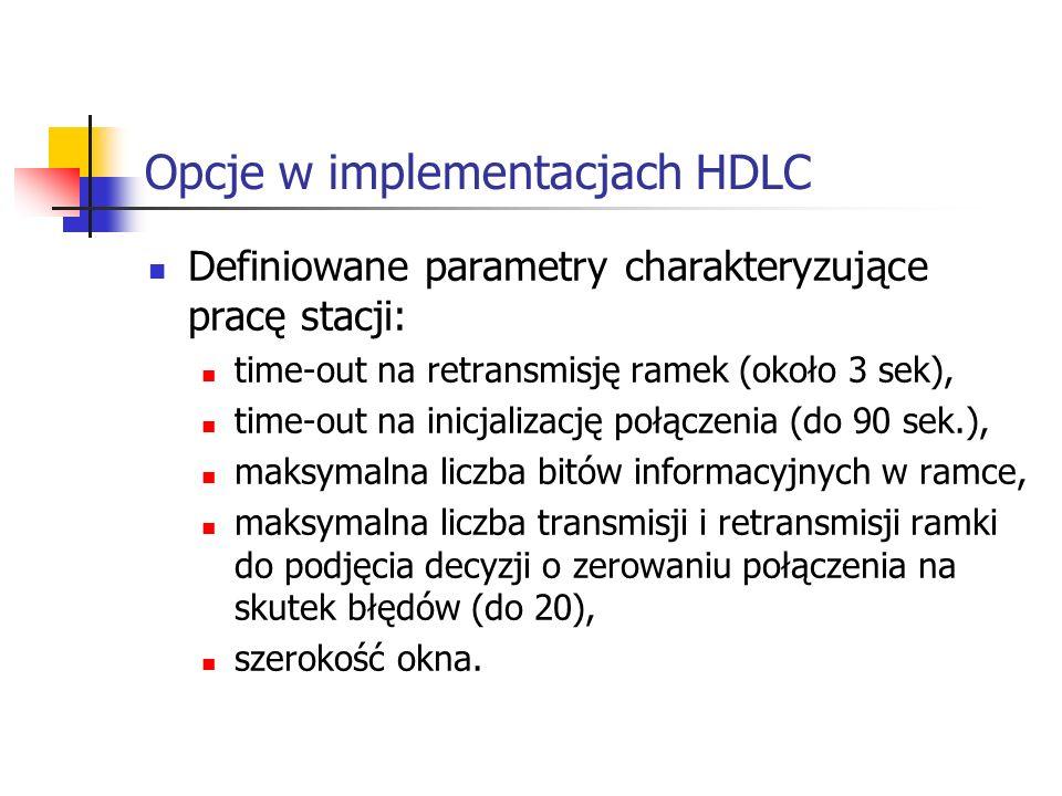 Opcje w implementacjach HDLC Definiowane parametry charakteryzujące pracę stacji: time-out na retransmisję ramek (około 3 sek), time-out na inicjaliza