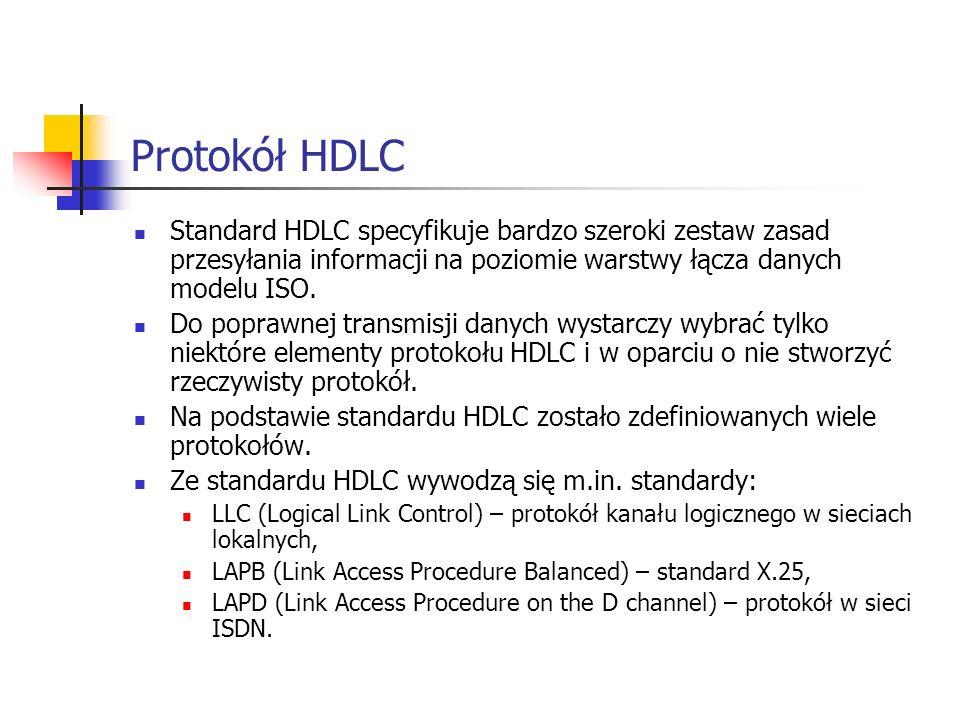 Protokół HDLC Standard HDLC specyfikuje bardzo szeroki zestaw zasad przesyłania informacji na poziomie warstwy łącza danych modelu ISO. Do poprawnej t