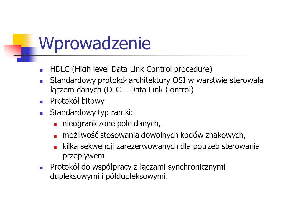 Wprowadzenie HDLC (High level Data Link Control procedure) Standardowy protokół architektury OSI w warstwie sterowała łączem danych (DLC – Data Link C