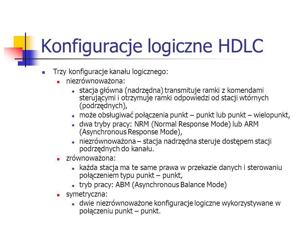 Konfiguracje logiczne HDLC Trzy konfiguracje kanału logicznego: niezrównoważona: stacja główna (nadrzędna) transmituje ramki z komendami sterującymi i