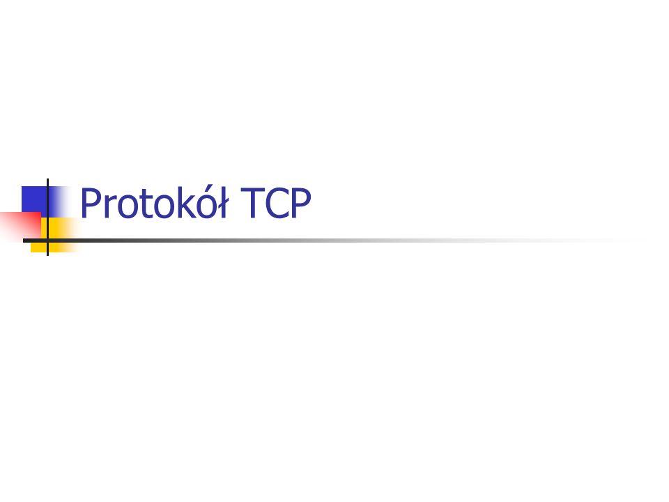 Sterowanie przepływem TCP - zasady Zasada retransmisji: definiuje sposób powtórnego nadawania segmentów, dla których upłynęła już kontrolowana zwłoka czasowa (time-out) – czas oczekiwania na potwierdzenie odbioru, zasada retransmisji indywidualnych: wiąże z każdym segmentem (wstawionym do kolejki segmentów oczekujących na retransmisję) zegar odmierzający zwłokę czasową, jeżeli potwierdzenie nadejdzie przed upływem zwłoki, segment jest usuwany z kolejki, a zegar kasowany; w przeciwnym przypadku segment jest nadawany ponownie, a jego zwłoka uruchamiana ponownie.