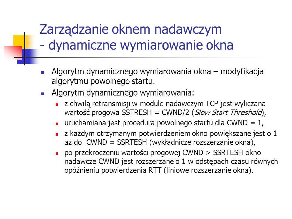 Zarządzanie oknem nadawczym - dynamiczne wymiarowanie okna Algorytm dynamicznego wymiarowania okna – modyfikacja algorytmu powolnego startu.