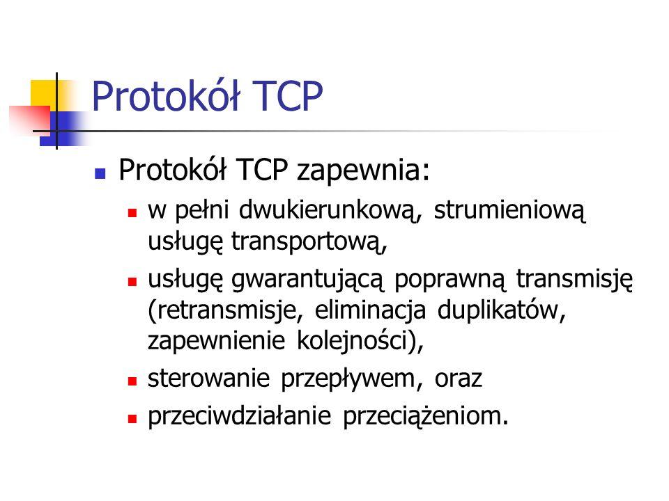 Zarządzanie oknem nadawczym - dynamiczne wymiarowanie okna Jak powinien zareagować protokół TCP na przeciążenie w sieci, za którego objaw można uznać pierwszą retransmisję segmentu.