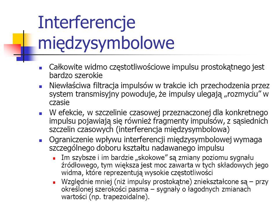 Interferencje międzysymbolowe Całkowite widmo częstotliwościowe impulsu prostokątnego jest bardzo szerokie Niewłaściwa filtracja impulsów w trakcie ich przechodzenia przez system transmisyjny powoduje, że impulsy ulegają rozmyciu w czasie W efekcie, w szczelinie czasowej przeznaczonej dla konkretnego impulsu pojawiają się również fragmenty impulsów, z sąsiednich szczelin czasowych (interferencja międzysymbolowa) Ograniczenie wpływu interferencji międzysymbolowej wymaga szczególnego doboru kształtu nadawanego impulsu Im szybsze i im bardzie skokowe są zmiany poziomu sygnału źródłowego, tym większa jest moc zawarta w tych składowych jego widma, które reprezentują wysokie częstotliwości Względnie mniej (niż impulsy prostokątne) zniekształcone są – przy określonej szerokości pasma – sygnały o łagodnych zmianach wartości (np.