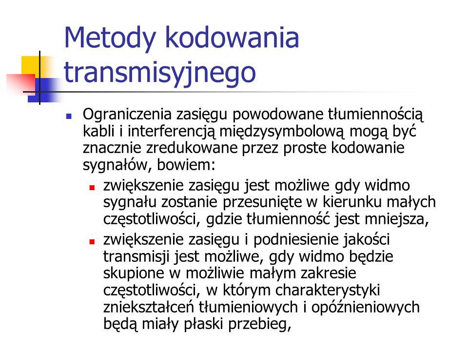 Metody kodowania transmisyjnego Ograniczenia zasięgu powodowane tłumiennością kabli i interferencją międzysymbolową mogą być znacznie zredukowane przez proste kodowanie sygnałów, bowiem: zwiększenie zasięgu jest możliwe gdy widmo sygnału zostanie przesunięte w kierunku małych częstotliwości, gdzie tłumienność jest mniejsza, zwiększenie zasięgu i podniesienie jakości transmisji jest możliwe, gdy widmo będzie skupione w możliwie małym zakresie częstotliwości, w którym charakterystyki zniekształceń tłumieniowych i opóźnieniowych będą miały płaski przebieg,