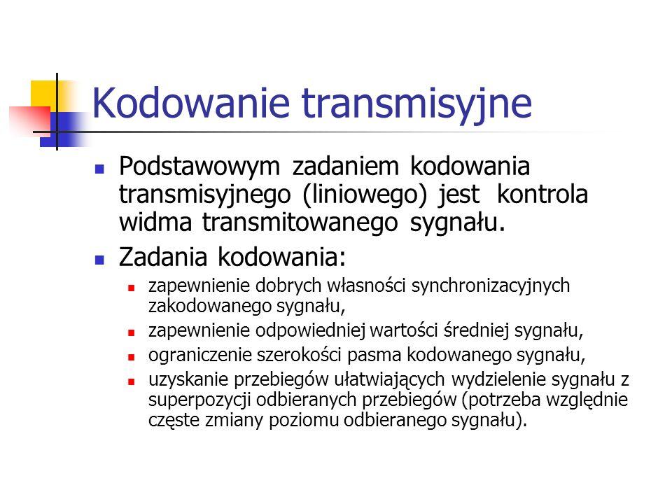 Kodowanie transmisyjne Podstawowym zadaniem kodowania transmisyjnego (liniowego) jest kontrola widma transmitowanego sygnału.