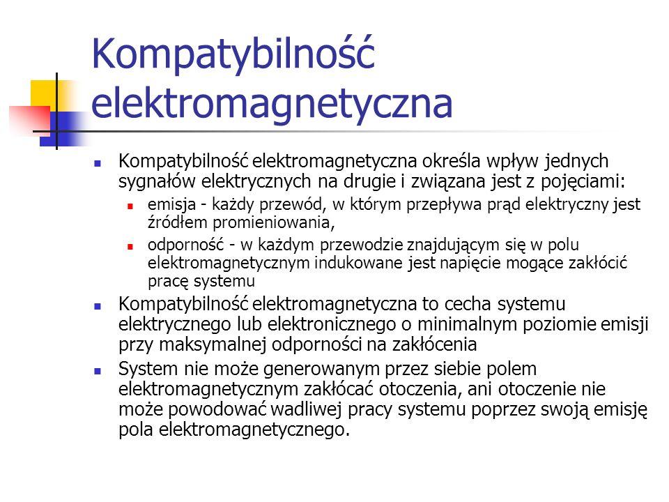 Kompatybilność elektromagnetyczna Kompatybilność elektromagnetyczna określa wpływ jednych sygnałów elektrycznych na drugie i związana jest z pojęciami: emisja - każdy przewód, w którym przepływa prąd elektryczny jest źródłem promieniowania, odporność - w każdym przewodzie znajdującym się w polu elektromagnetycznym indukowane jest napięcie mogące zakłócić pracę systemu Kompatybilność elektromagnetyczna to cecha systemu elektrycznego lub elektronicznego o minimalnym poziomie emisji przy maksymalnej odporności na zakłócenia System nie może generowanym przez siebie polem elektromagnetycznym zakłócać otoczenia, ani otoczenie nie może powodować wadliwej pracy systemu poprzez swoją emisję pola elektromagnetycznego.