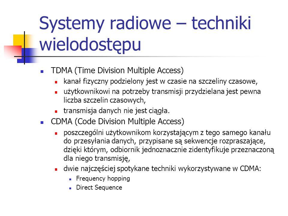 Systemy radiowe – techniki wielodostępu TDMA (Time Division Multiple Access) kanał fizyczny podzielony jest w czasie na szczeliny czasowe, użytkownikowi na potrzeby transmisji przydzielana jest pewna liczba szczelin czasowych, transmisja danych nie jest ciągła.
