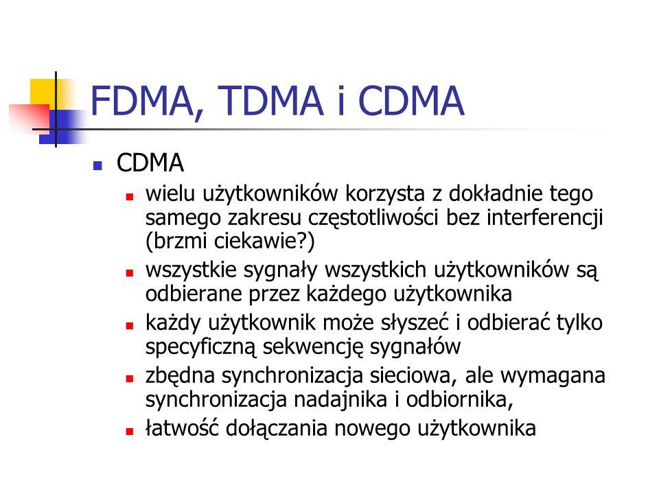 FDMA, TDMA i CDMA CDMA wielu użytkowników korzysta z dokładnie tego samego zakresu częstotliwości bez interferencji (brzmi ciekawie?) wszystkie sygnały wszystkich użytkowników są odbierane przez każdego użytkownika każdy użytkownik może słyszeć i odbierać tylko specyficzną sekwencję sygnałów zbędna synchronizacja sieciowa, ale wymagana synchronizacja nadajnika i odbiornika, łatwość dołączania nowego użytkownika