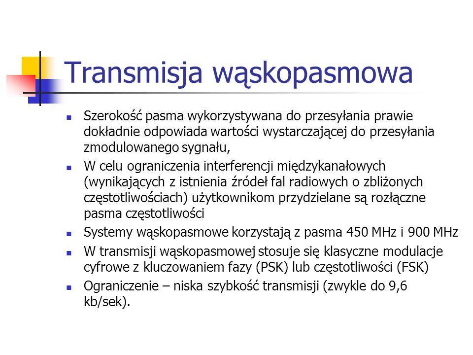 Transmisja wąskopasmowa Szerokość pasma wykorzystywana do przesyłania prawie dokładnie odpowiada wartości wystarczającej do przesyłania zmodulowanego sygnału, W celu ograniczenia interferencji międzykanałowych (wynikających z istnienia źródeł fal radiowych o zbliżonych częstotliwościach) użytkownikom przydzielane są rozłączne pasma częstotliwości Systemy wąskopasmowe korzystają z pasma 450 MHz i 900 MHz W transmisji wąskopasmowej stosuje się klasyczne modulacje cyfrowe z kluczowaniem fazy (PSK) lub częstotliwości (FSK) Ograniczenie – niska szybkość transmisji (zwykle do 9,6 kb/sek).
