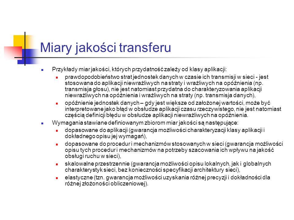 Miary jakości transferu Stopa błędów (pojedynczych i grupowych) Współczynnik strat jednostek danych Współczynnik wtrącania jednostek danych Opóźnienie transferu jednostek danych Zmienność opóźnienia Asymetria Czas oczekiwania na odtwarzanie Wierność odtwarzania...