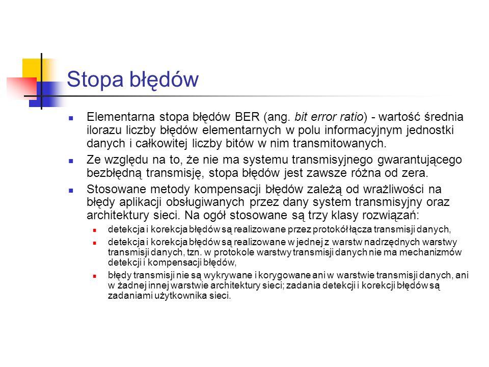 Stopa błędów Elementarna stopa błędów BER (ang. bit error ratio) - wartość średnia ilorazu liczby błędów elementarnych w polu informacyjnym jednostki
