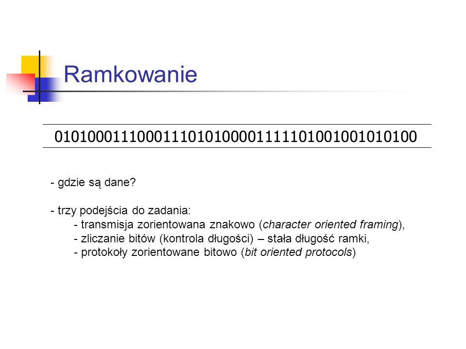 Transmisja zorientowana znakowo SYN SYN STX NAGŁÓWEK PAKIET ETX CRC SYN SYN synchronizacja Start of TeXtEnd of TeXt Cyclic Redundancy Check ramka - standardy kodów (ASCII, EBCDIC) zawierają specjalne znaki dla potrzeb komunikacji (nie mogą występować jako dane), - rozpoczęcie i zakończenie transmisji bazuje na znakach kodu, - długość ramki jest wielokrotnością długości znaku, - transmisja zależy od kodu, - problemy z transmisją danych binarnych