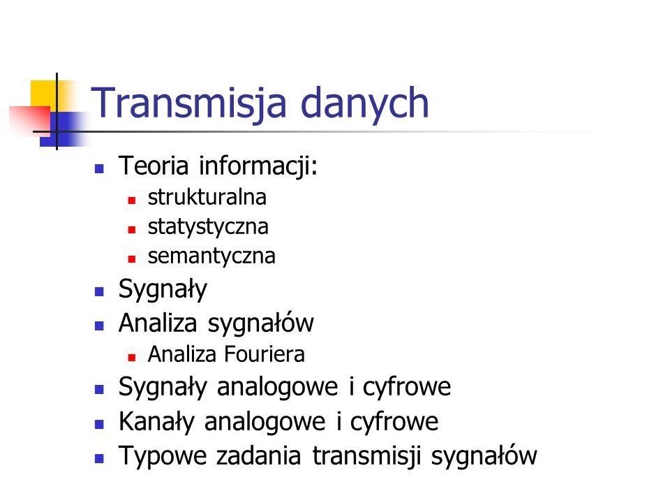 Transmisja danych Teoria informacji: strukturalna statystyczna semantyczna Sygnały Analiza sygnałów Analiza Fouriera Sygnały analogowe i cyfrowe Kanał