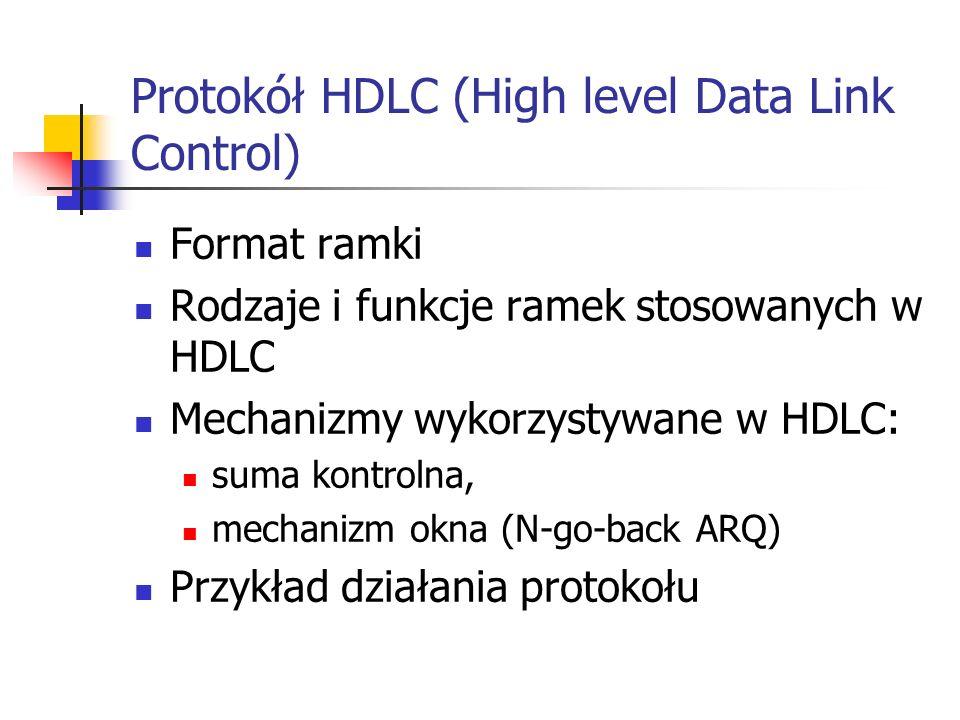 Protokół HDLC (High level Data Link Control) Format ramki Rodzaje i funkcje ramek stosowanych w HDLC Mechanizmy wykorzystywane w HDLC: suma kontrolna,