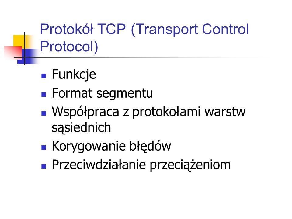 Protokół TCP (Transport Control Protocol) Funkcje Format segmentu Współpraca z protokołami warstw sąsiednich Korygowanie błędów Przeciwdziałanie przec