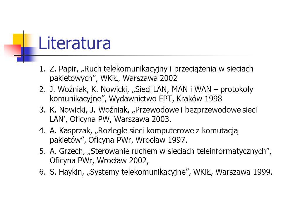 Literatura 1.Z. Papir, Ruch telekomunikacyjny i przeciążenia w sieciach pakietowych, WKiŁ, Warszawa 2002 2.J. Woźniak, K. Nowicki, Sieci LAN, MAN i WA