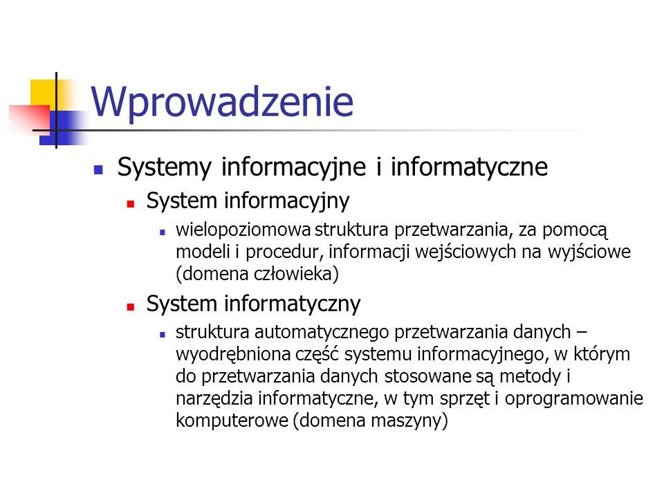 Wprowadzenie Systemy informacyjne i informatyczne System informacyjny wielopoziomowa struktura przetwarzania, za pomocą modeli i procedur, informacji