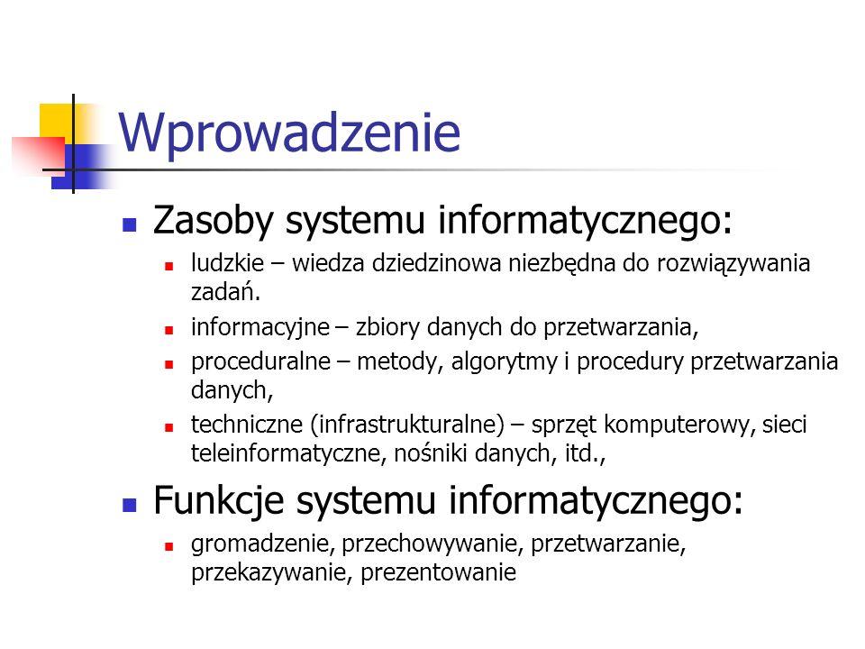 Wprowadzenie Zasoby systemu informatycznego: ludzkie – wiedza dziedzinowa niezbędna do rozwiązywania zadań. informacyjne – zbiory danych do przetwarza