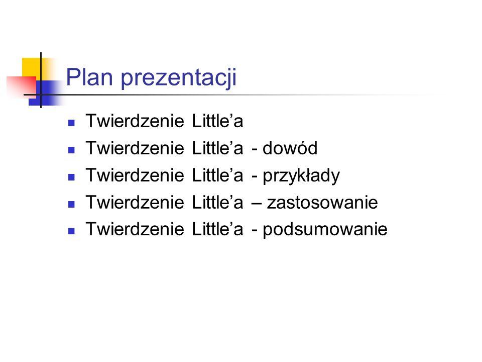 Plan prezentacji Twierdzenie Littlea Twierdzenie Littlea - dowód Twierdzenie Littlea - przykłady Twierdzenie Littlea – zastosowanie Twierdzenie Littlea - podsumowanie