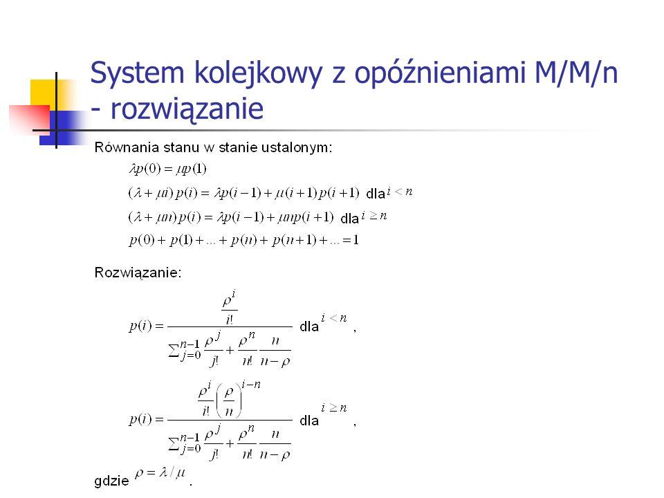 System kolejkowy z opóźnieniami M/M/n - rozwiązanie
