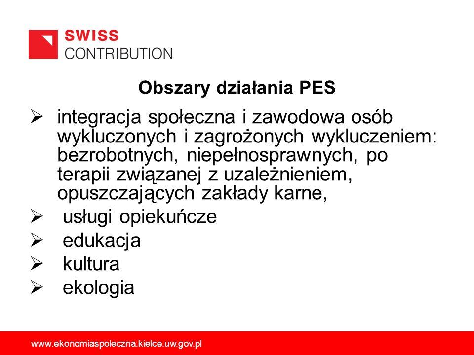 Obszary działania PES integracja społeczna i zawodowa osób wykluczonych i zagrożonych wykluczeniem: bezrobotnych, niepełnosprawnych, po terapii związa
