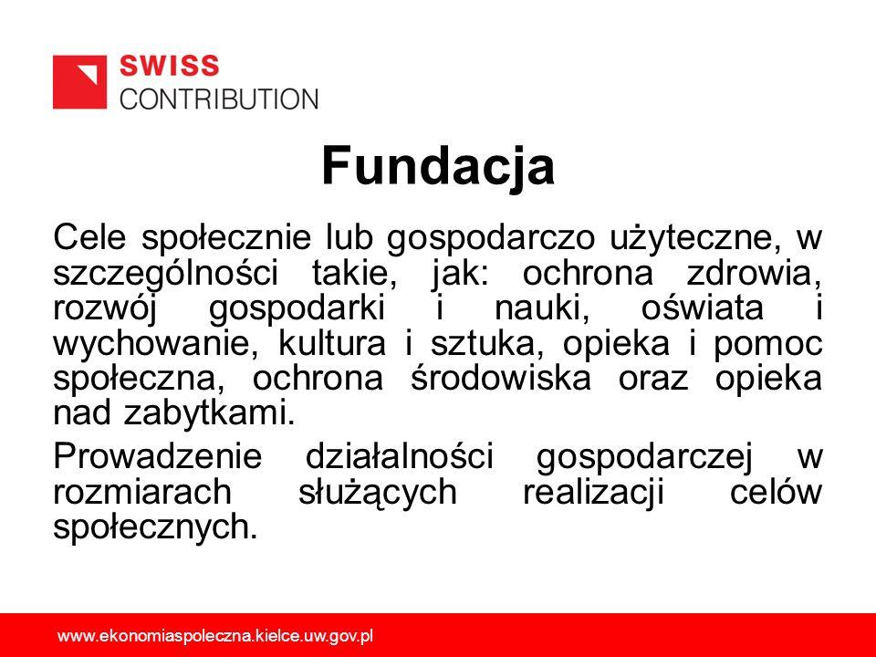 Fundacja Cele społecznie lub gospodarczo użyteczne, w szczególności takie, jak: ochrona zdrowia, rozwój gospodarki i nauki, oświata i wychowanie, kult