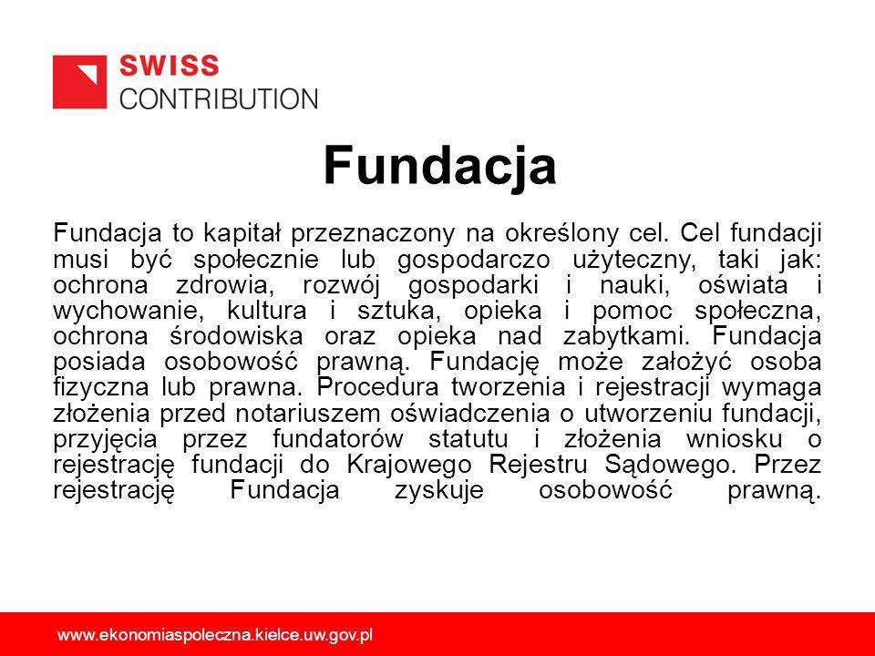 Fundacja Fundacja to kapitał przeznaczony na określony cel. Cel fundacji musi być społecznie lub gospodarczo użyteczny, taki jak: ochrona zdrowia, roz
