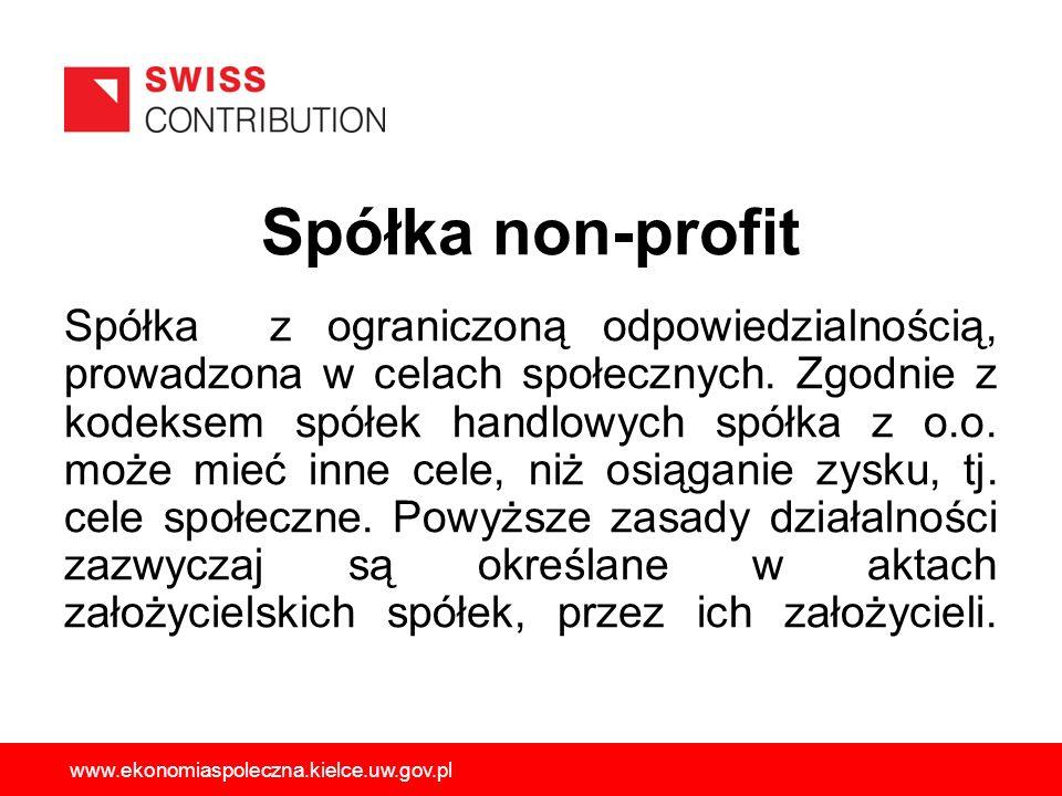 Spółka non-profit Spółka z ograniczoną odpowiedzialnością, prowadzona w celach społecznych. Zgodnie z kodeksem spółek handlowych spółka z o.o. może mi