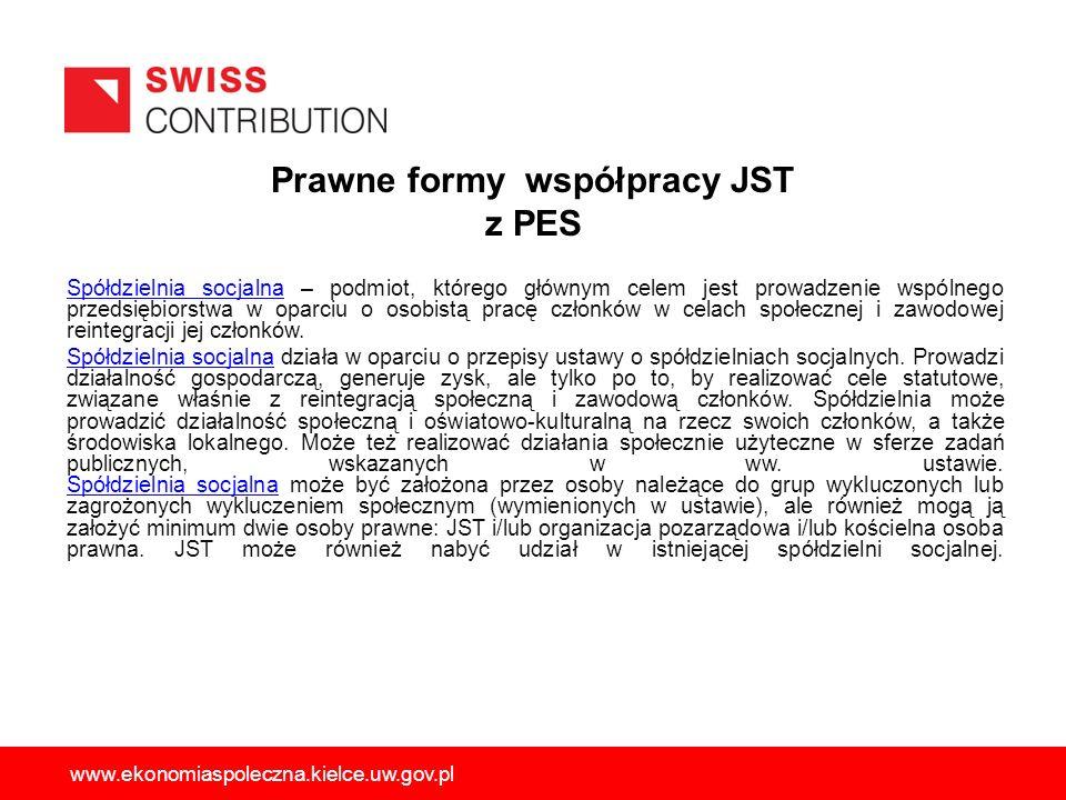 Prawne formy współpracy JST z PES Spółdzielnia socjalnaSpółdzielnia socjalna – podmiot, którego głównym celem jest prowadzenie wspólnego przedsiębiors