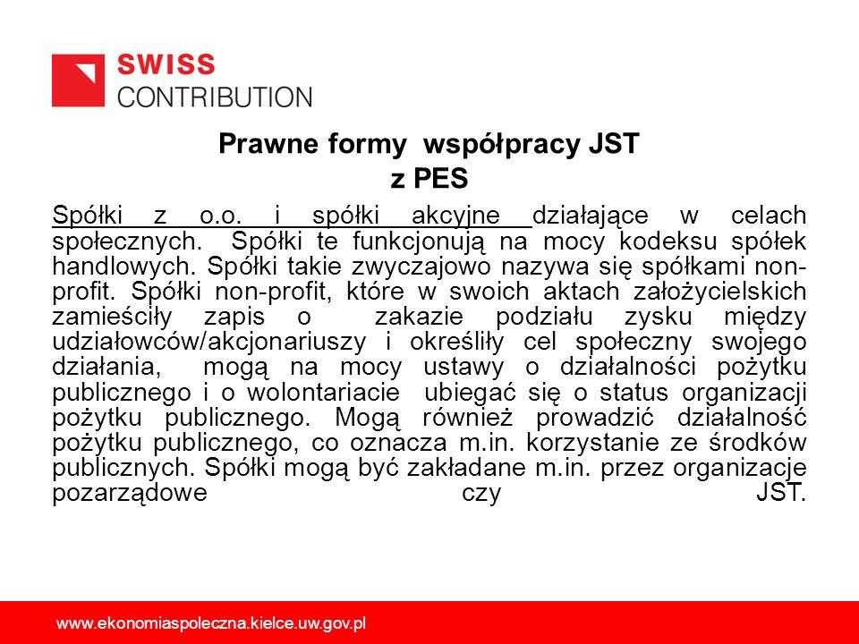Prawne formy współpracy JST z PES Spółki z o.o. i spółki akcyjne działające w celach społecznych. Spółki te funkcjonują na mocy kodeksu spółek handlow