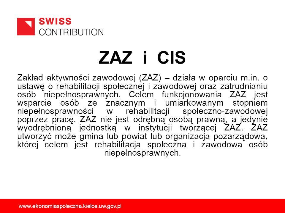 ZAZ i CIS Zakład aktywności zawodowej (ZAZ) – działa w oparciu m.in. o ustawę o rehabilitacji społecznej i zawodowej oraz zatrudnianiu osób niepełnosp