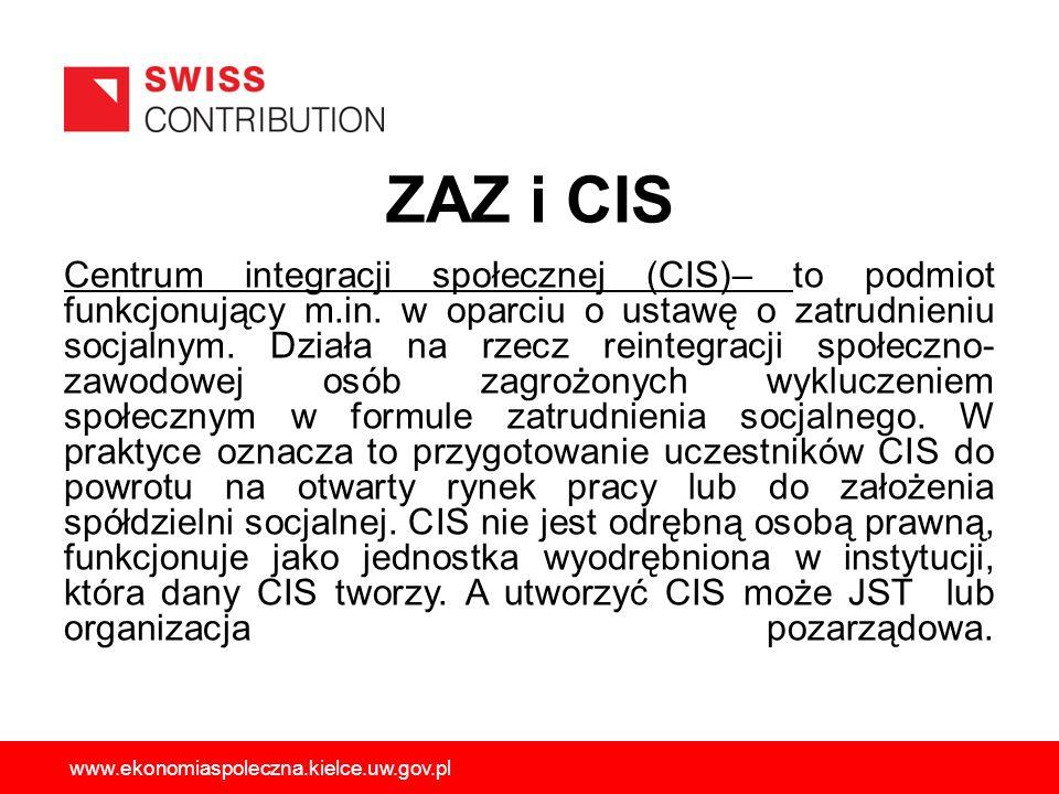 ZAZ i CIS Centrum integracji społecznej (CIS)– to podmiot funkcjonujący m.in. w oparciu o ustawę o zatrudnieniu socjalnym. Działa na rzecz reintegracj