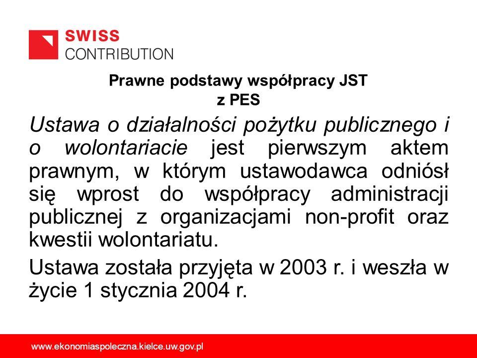 Prawne podstawy współpracy JST z PES Ustawa o działalności pożytku publicznego i o wolontariacie jest pierwszym aktem prawnym, w którym ustawodawca od