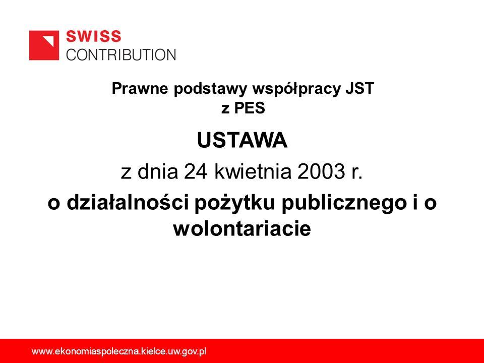 Prawne podstawy współpracy JST z PES USTAWA z dnia 24 kwietnia 2003 r. o działalności pożytku publicznego i o wolontariacie www.ekonomiaspoleczna.kiel