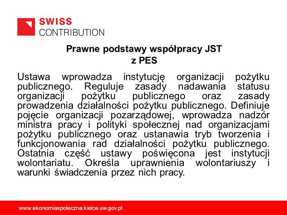 Prawne podstawy współpracy JST z PES Ustawa wprowadza instytucję organizacji pożytku publicznego. Reguluje zasady nadawania statusu organizacji pożytk