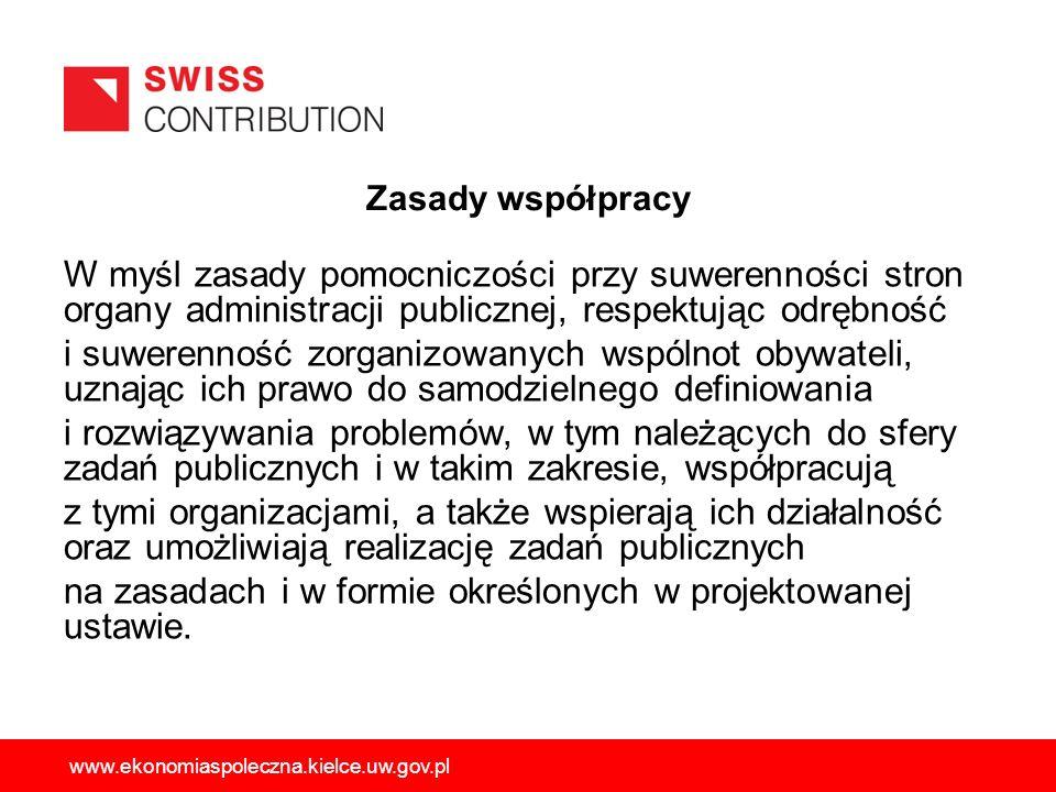 Zasady współpracy W myśl zasady pomocniczości przy suwerenności stron organy administracji publicznej, respektując odrębność i suwerenność zorganizowa