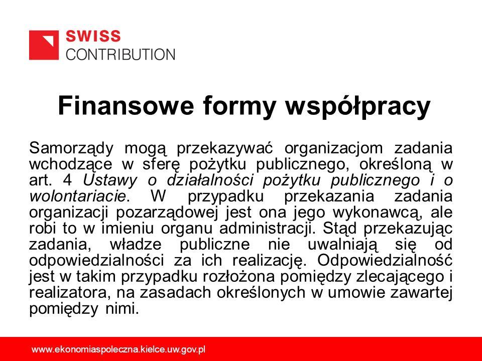 Finansowe formy współpracy Samorządy mogą przekazywać organizacjom zadania wchodzące w sferę pożytku publicznego, określoną w art. 4 Ustawy o działaln