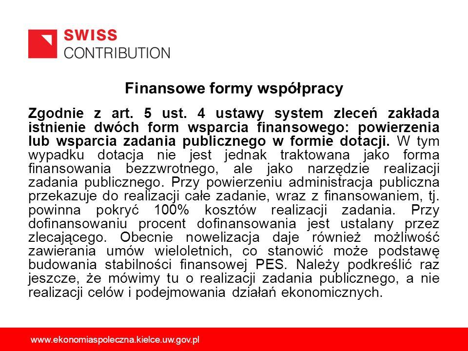 Finansowe formy współpracy Zgodnie z art. 5 ust. 4 ustawy system zleceń zakłada istnienie dwóch form wsparcia finansowego: powierzenia lub wsparcia za