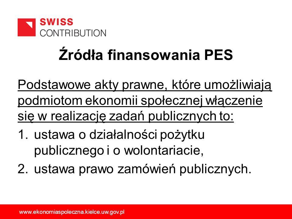 Źródła finansowania PES Podstawowe akty prawne, które umożliwiają podmiotom ekonomii społecznej włączenie się w realizację zadań publicznych to: 1.ust