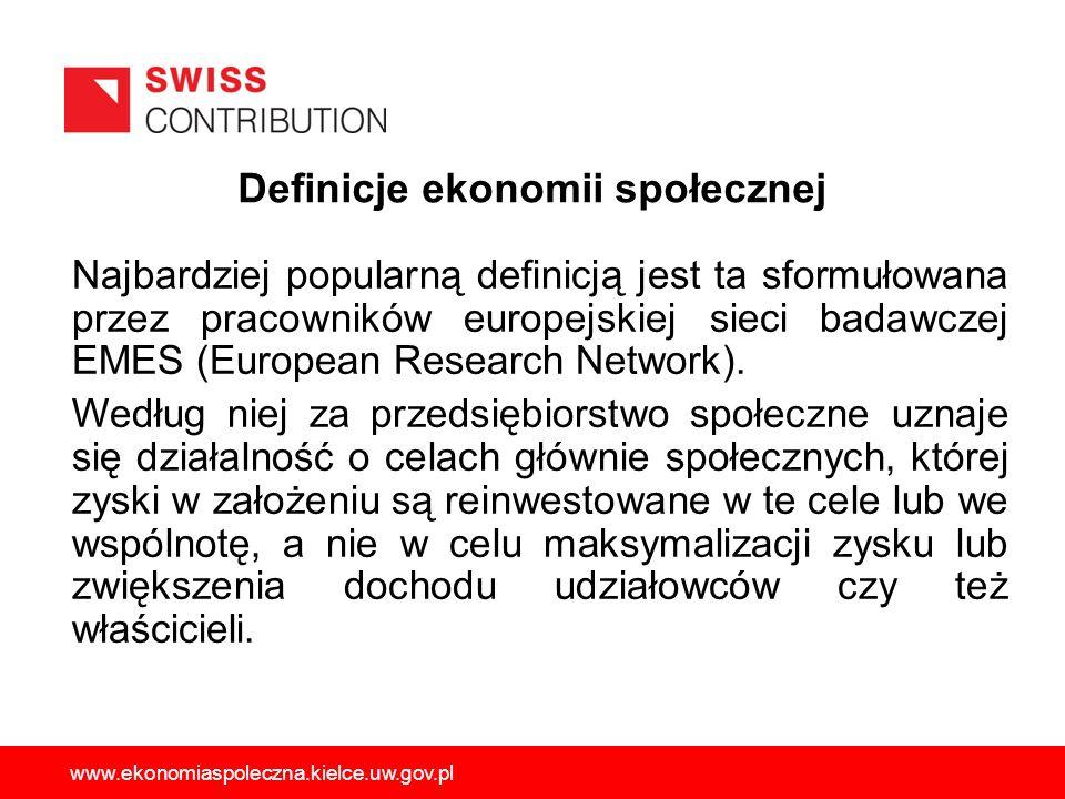 Najbardziej popularną definicją jest ta sformułowana przez pracowników europejskiej sieci badawczej EMES (European Research Network). Według niej za p