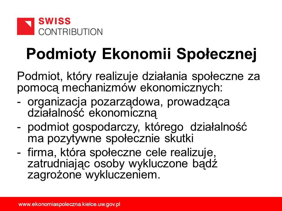 Podmioty Ekonomii Społecznej Podmiot, który realizuje działania społeczne za pomocą mechanizmów ekonomicznych: -organizacja pozarządowa, prowadząca dz