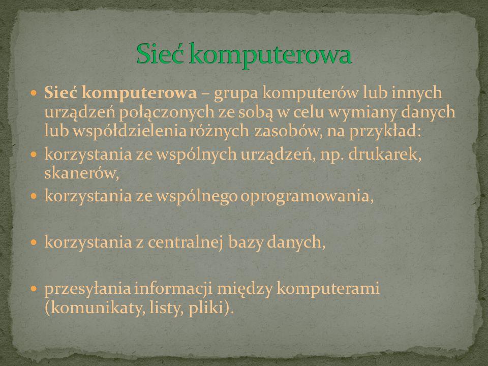 Sieć komputerowa – grupa komputerów lub innych urządzeń połączonych ze sobą w celu wymiany danych lub współdzielenia różnych zasobów, na przykład: kor