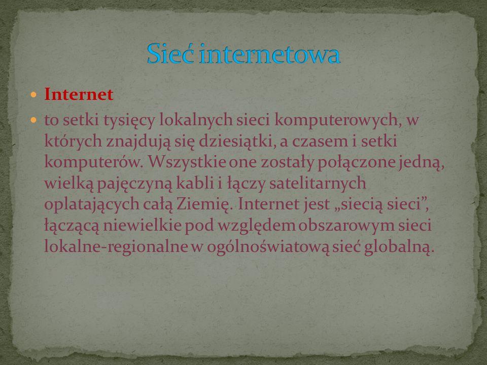 Internet to setki tysięcy lokalnych sieci komputerowych, w których znajdują się dziesiątki, a czasem i setki komputerów. Wszystkie one zostały połączo