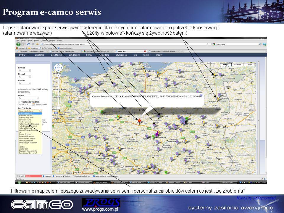 Program e-camco serwis Lepsze planowanie prac serwisowych w terenie dla różnych firm i alarmowanie o potrzebie konserwacji (alarmowanie wezwań)(żółty